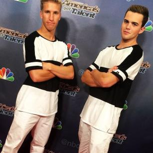 Yacynych (Left) and teammate Zev Troxler (Right) pose at America's Got Talent (Photo courtesy of Eddie Yacynych)