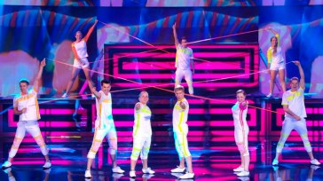 "Class of 2010 grad Eddie Yacynych (bottom, third from right) performs with Flight Crew Jump Rope on ""America's Got Talent"" (Photo courtesy of www.nbc.com)."