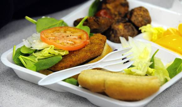 "Current school lunches try to balance different food groups and provide ""nutrient-dense"" food items, according to the policy (Photo courtesy of The Baltimore Sun)."