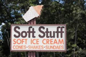 This sign welcomes customers to Soft Stuff, newly reopened this year (Photo courtesy of The Baltimore Sun).