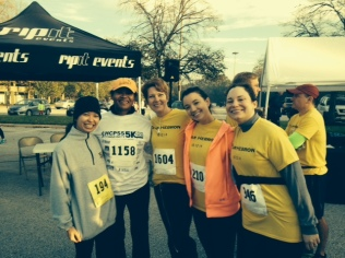 Special Education teacher Ms. Jerdine Nolen (second from left) and English teachers (from left) Ms. Rachel Fulchino, Ms. Shannon Milam, Ms. Hannah Brogi, and Ms. Amy Comberiate pose before the race begins (Photo courtesy of Ms. Milam).