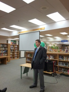 Guest speaker  and Mt. Hebron alum Hoffman enlightens the members with his experiences in the professional world of finance (Photo courtesy of Ms. Bechta).