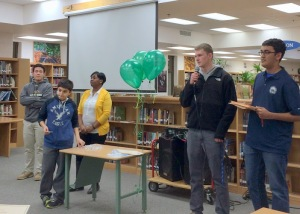 Vaughan (right) and Chaddha (far right) address the new inductees (Photo courtesy of Ms. Bechta).