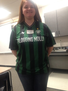 Senior Allie Beall dons her St. Patrick's Day green.